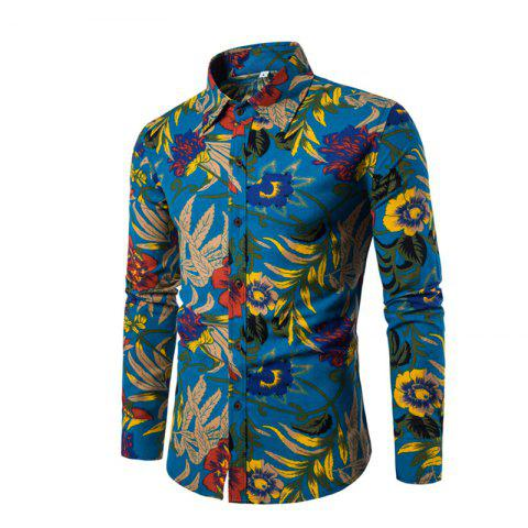 Fancy Men'S English Style Long-Sleeve Digital Printed Shirt Plus Sizes