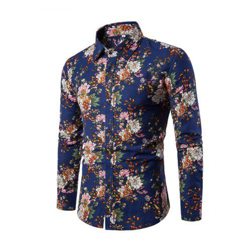 Unique Men'S English Style Long-Sleeve Digital Printed Shirt Plus Sizes