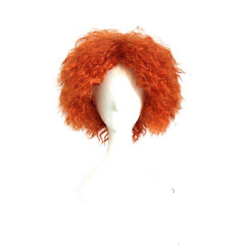 Sale Mad Hatter Orange Color Short Curly Cosplay Wig Halloween Christmas Party Fancy Costume