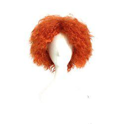 Mad Hatter Orange Color Short Curly Cosplay Wig Halloween Christmas Party Fancy Costume -