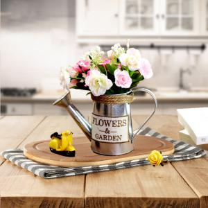 American Country Decorated with Small Bucket of Extra Meat Fake Flower Pot Bowl of Antique Tin Bucket Table Iron Kettle -