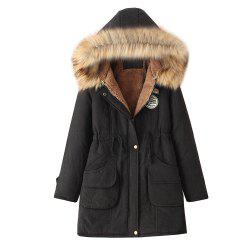 Women'S Quilted Coat Thicken Warmth Hooded Slim Coat -