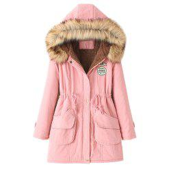 Women's Hooded Drawstring Elastic Waist Front Pokets Thicken Coat -