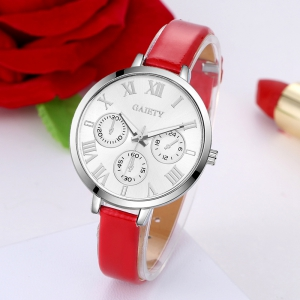 GAIETY G226 Women Silver Dial Leather Bracelet Watch -