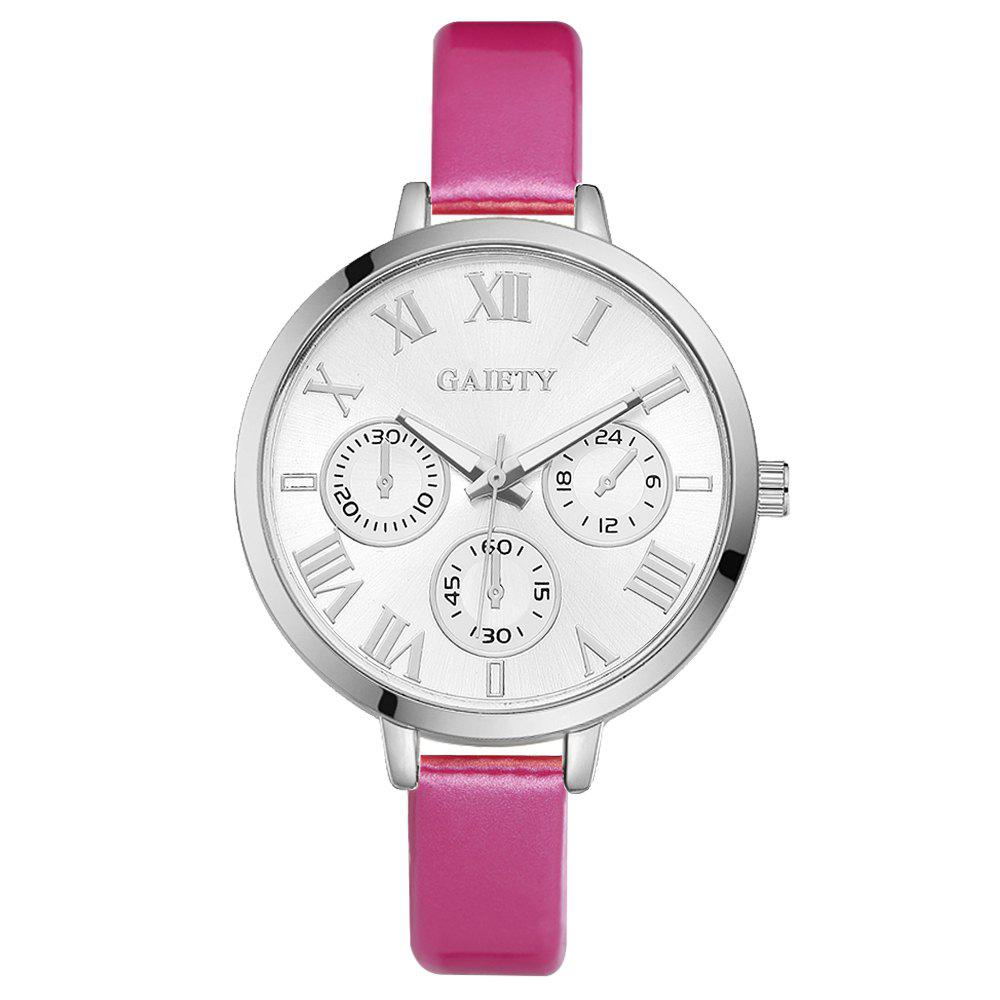 Latest GAIETY G226 Women Silver Dial Leather Bracelet Watch