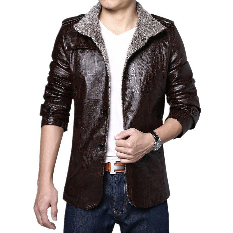 Online Men Cashmere PU Leather Jacket Autumn Winter Coat