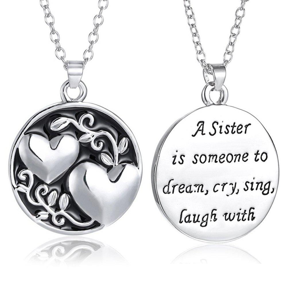 Shop Sister Tree Two-sided Alloy Pendant Necklace Love Family Gift