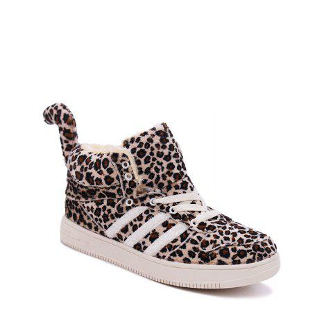 Best New Leopard Winter High Plus Velvet Plus Cotton Thick Warm Cotton Shoes