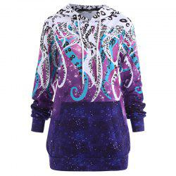 Women's Fashion Plus Size Printed Long-Sleeved Hoodie -