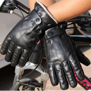 Autumn and Winter Men's PU Thickening Antiskid and Warm Glove Outdoor Cycling Electric Motorcycle Cotton -