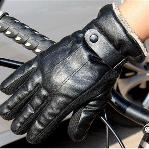 Discount Autumn and Winter Men's PU Thickening Antiskid and Warm Glove Outdoor Cycling Electric Motorcycle Cotton