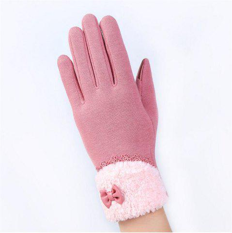 Discount New Arrival Women Winter Gloves Screen Sensor Fittness with Leather Bow Lace Elegant Warm Mittens Fashion Female Sensor