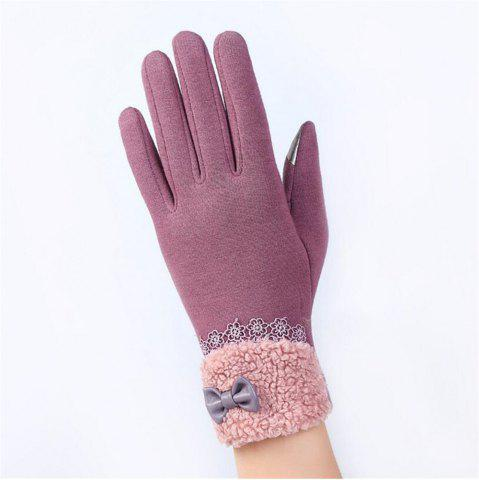 Chic New Arrival Women Winter Gloves Screen Sensor Fittness with Leather Bow Lace Elegant Warm Mittens Fashion Female Sensor