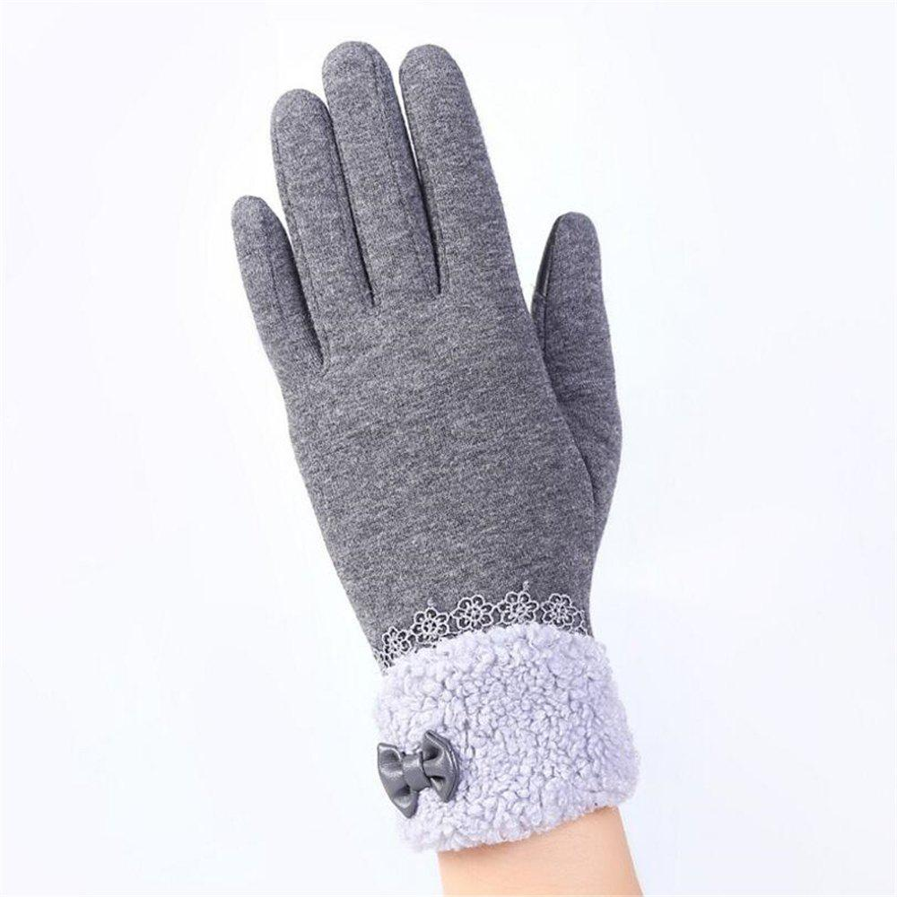 Sale New Arrival Women Winter Gloves Screen Sensor Fittness with Leather Bow Lace Elegant Warm Mittens Fashion Female Sensor