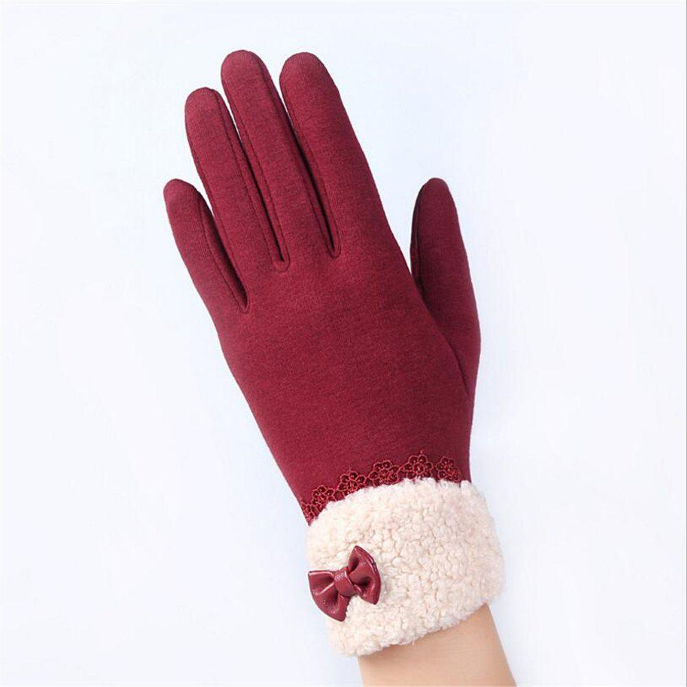 Fancy New Arrival Women Winter Gloves Screen Sensor Fittness with Leather Bow Lace Elegant Warm Mittens Fashion Female Sensor