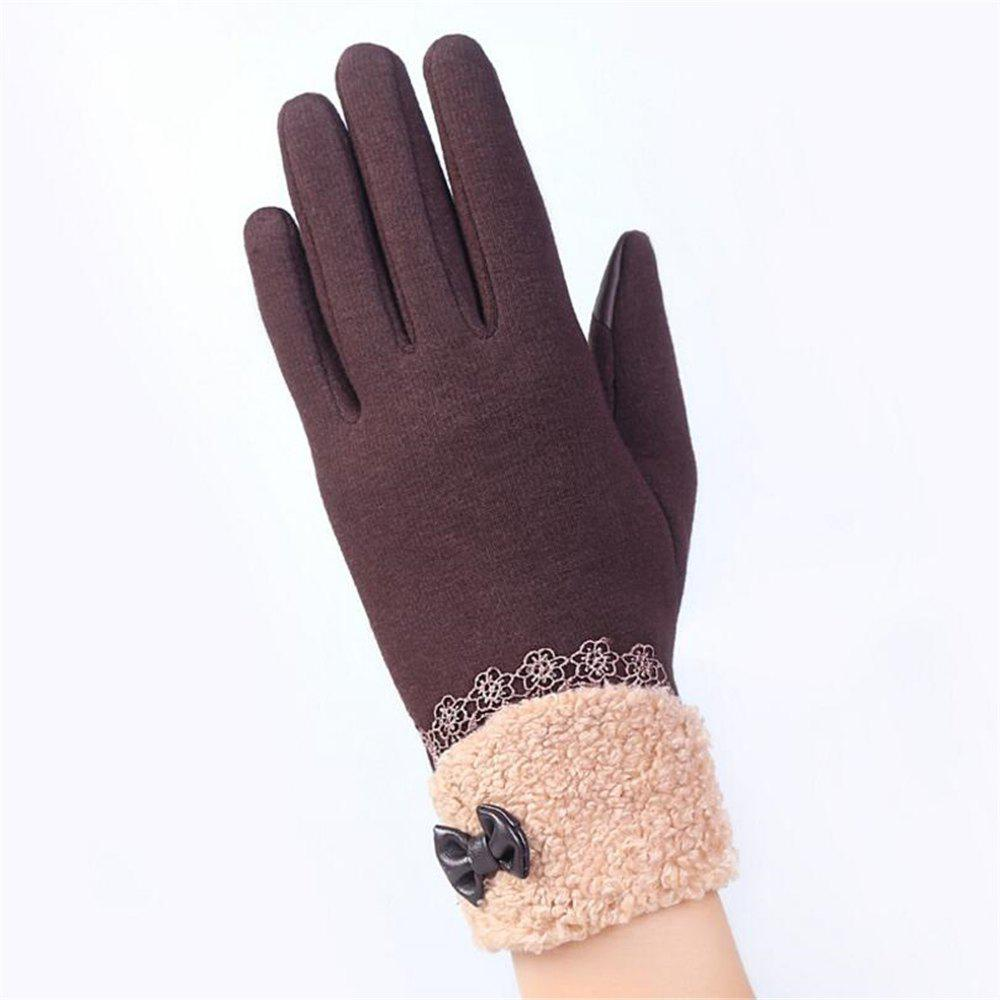 Shops New Arrival Women Winter Gloves Screen Sensor Fittness with Leather Bow Lace Elegant Warm Mittens Fashion Female Sensor