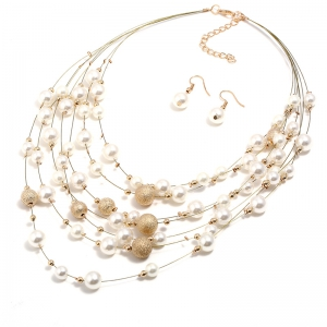Fashion Pearl Frosted Multi-Layered Necklace Earrings Suit -