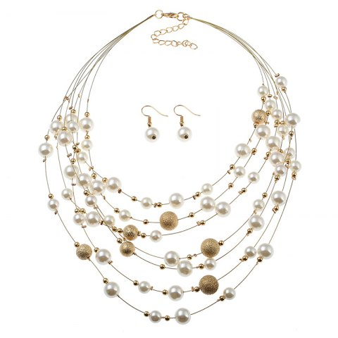 Outfit Fashion Pearl Frosted Multi-Layered Necklace Earrings Suit