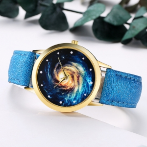 GAIETY G378 Women Starry Sky Dial Leather Band Quartz Watch -