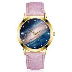 GAIETY G374 Women Leather Strap Starry Sky Face Quartz Watch -