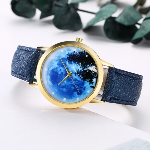 GAIETY G373 Women's Sky Face Leather Band Dress Watch -