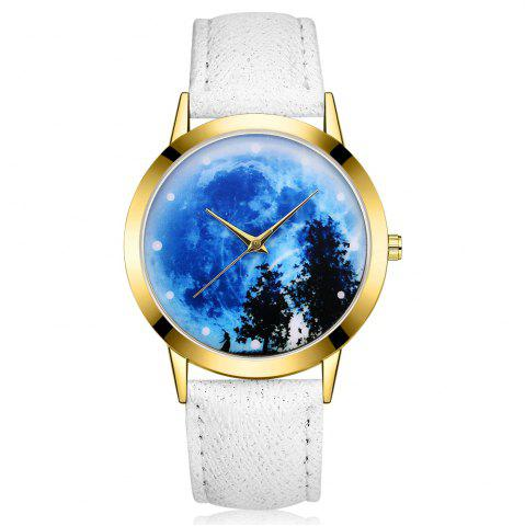 Hot GAIETY G373 Women's Sky Face Leather Band Dress Watch