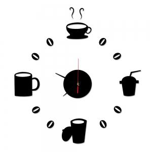 Funny DIY Coffee Clock Acrylic Mirror Wall Sticker -