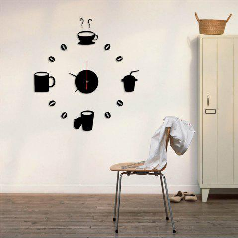 Fashion Funny DIY Coffee Clock Acrylic Mirror Wall Sticker