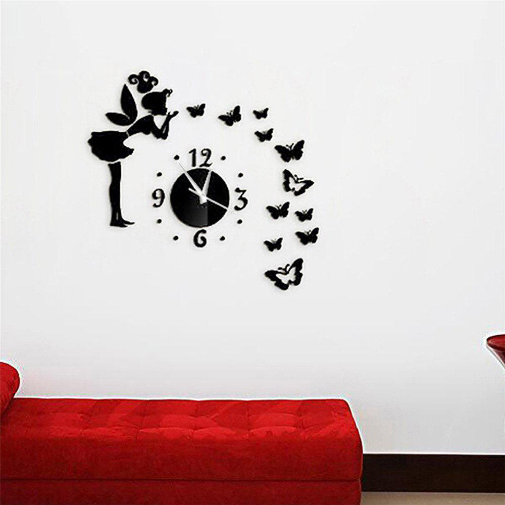 Sale Acrylic Mirror Sticker Set Butterfly Style Wall Clock