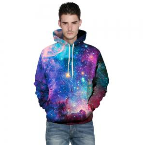 Digital 3D Printing Star Hoodie Couple Baseball Uniform Large Size Hooded for Men -