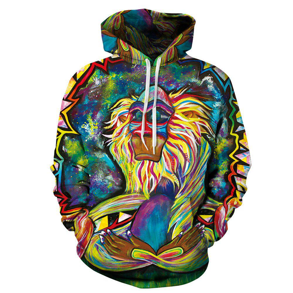 Buy Sweatshirt Men Hoodies Digital Print Colorful Monkey Hoody Tracksuits Tops