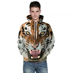 Funny 3D Tiger Fashion Plus Size Printed Hoodie Men Women Pullovers -
