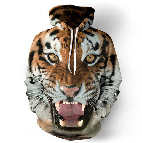 Shop Funny 3D Tiger Fashion Plus Size Printed Hoodie Men Women Pullovers