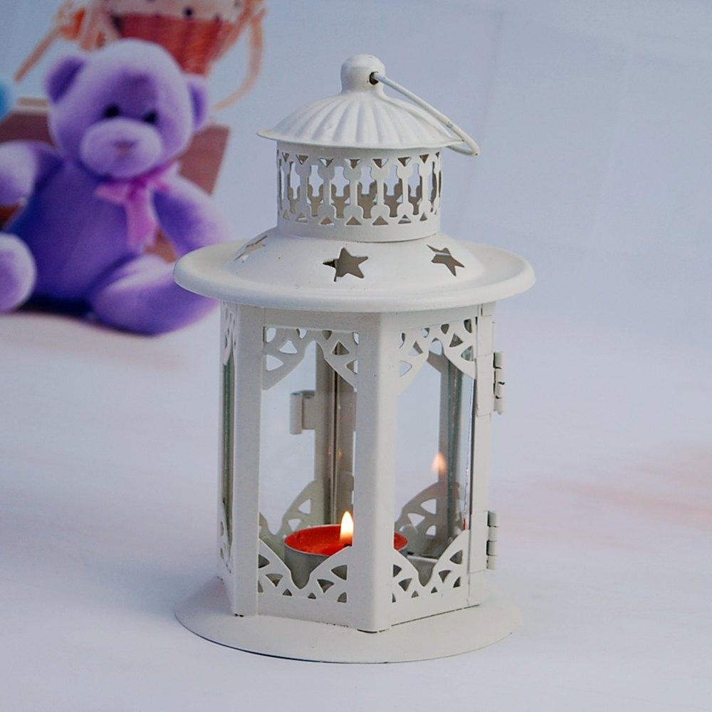 Unique Flower Horse Time European Iron Glass Candlestick Wind Lamp To Set Up Creative Simple Home Decoration Candle Lamp