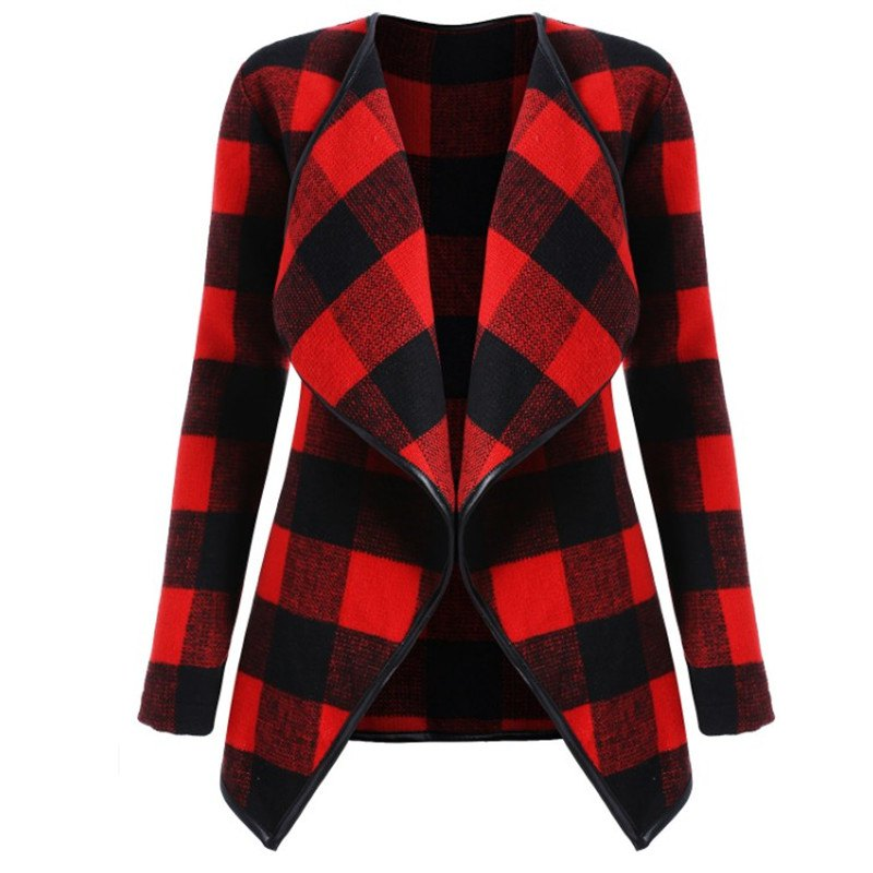 Affordable 2018 New Long Sleeved Plaid Coat