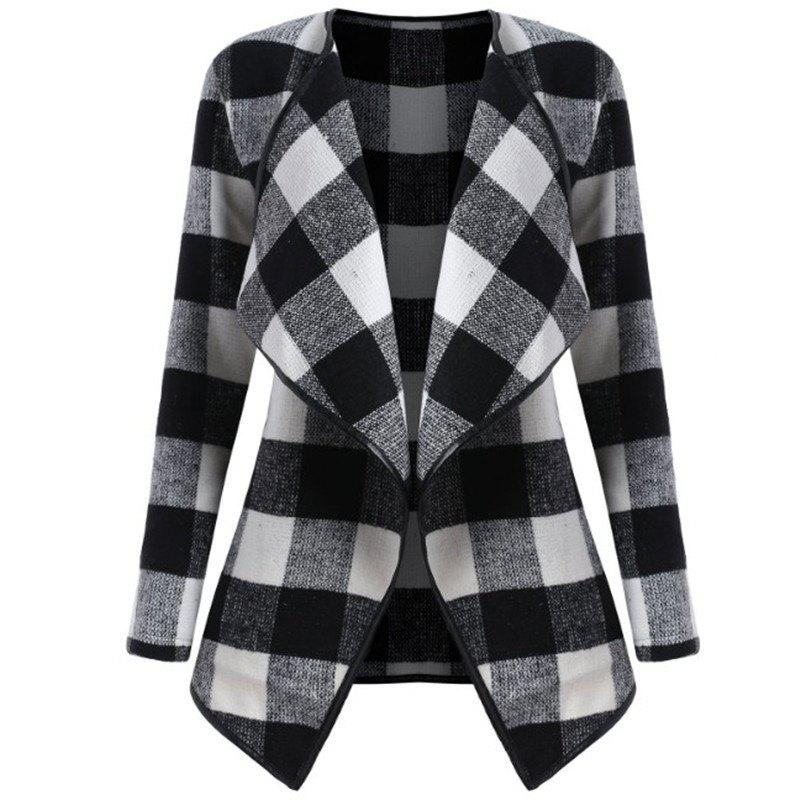 Fashion 2018 New Long Sleeved Plaid Coat