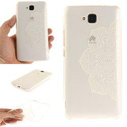 Half of White Flowers Soft Clear IMD TPU Phone Casing Mobile Smartphone Cover Shell Case for Huawei Enjoy 5 -