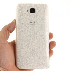 White Lace Soft Clear IMD TPU Phone Casing Mobile Smartphone Cover Shell Case for Huawei Enjoy 5 -