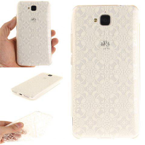Shop White Lace Soft Clear IMD TPU Phone Casing Mobile Smartphone Cover Shell Case for Huawei Enjoy 5