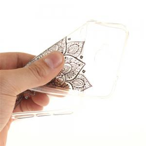 Black Half Flower Soft Clear IMD TPU Phone Casing Mobile Smartphone Cover Shell Case for Huawei Enjoy 5 -
