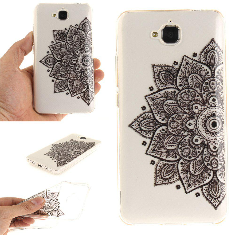 Latest Black Half Flower Soft Clear IMD TPU Phone Casing Mobile Smartphone Cover Shell Case for Huawei Enjoy 5