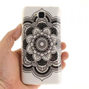 Black Sunflower Soft Clear IMD TPU Phone Casing Mobile Smartphone Cover Shell Case for Huawei Enjoy 5 -
