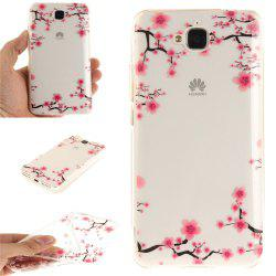 Up and Down The Plum Blossom Soft Clear IMD TPU Phone Casing Mobile Smartphone Cover Shell Case for Huawei Enjoy 5 -