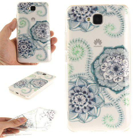 Fashion Blue Green Dream Flower Soft Clear IMD TPU Phone Casing Mobile Smartphone Cover Shell Case for Huawei Enjoy 5