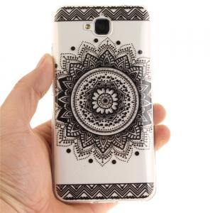 Black Datura Soft Clear IMD TPU Phone Casing Mobile Smartphone Cover Shell Case for Huawei Enjoy 5 -