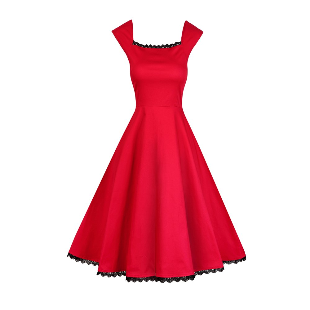 Fashion Women Sexy Party Lace Stitching Pierced Classic Short Sleeve Dresses