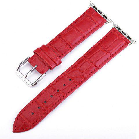 Fashion Crocodile Pattern Genuine Leather Strap for 38mm iWatch Series 3/2/1 Stainless Steel Clasp and Solid Connector