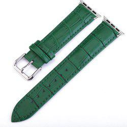 Crocodile Pattern Genuine Leather Strap for 38mm iWatch Series 3/2/1 Stainless Steel Clasp and Solid Connector -