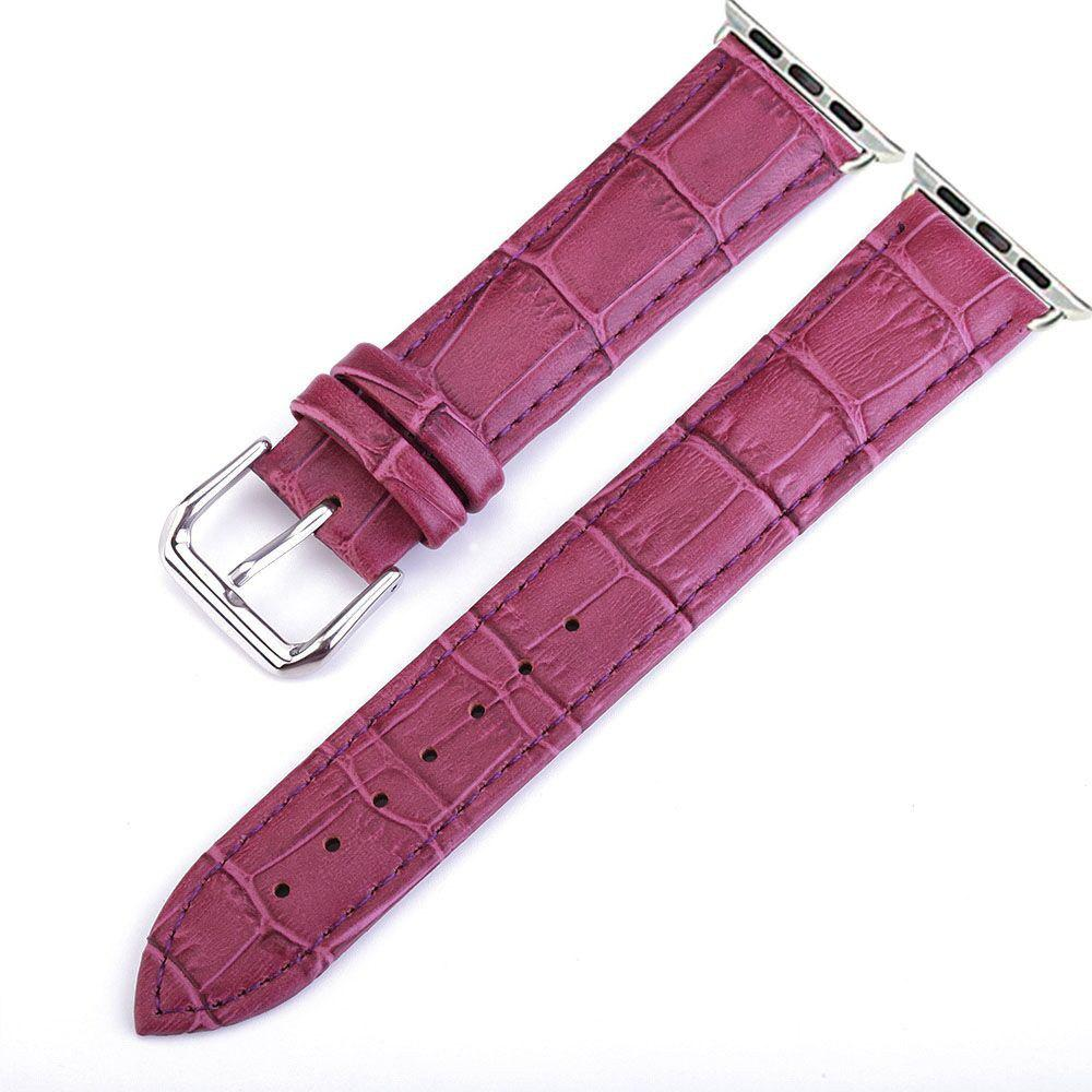 Best Crocodile Pattern Genuine Leather Strap for 38mm iWatch Series 3/2/1 Stainless Steel Clasp and Solid Connector