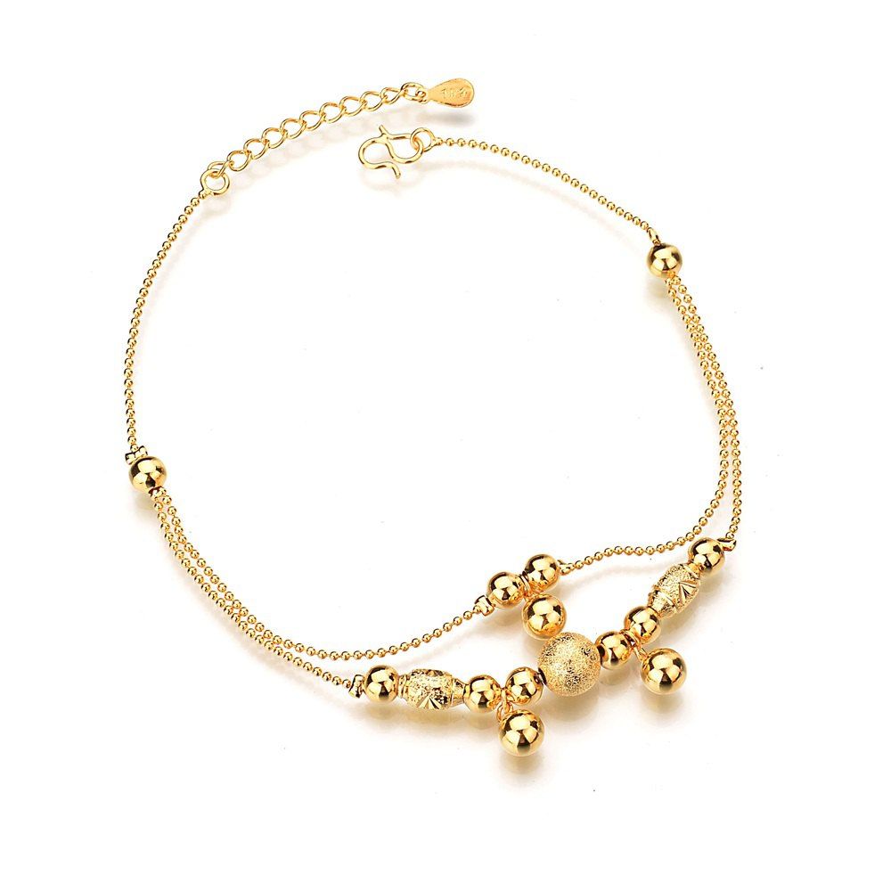 Outfit 18K Gold Color Matte Smooth Sphere Double Layers Bracelet Anklet